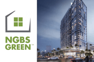NGBS Green Logo next to a new construction multifamily building