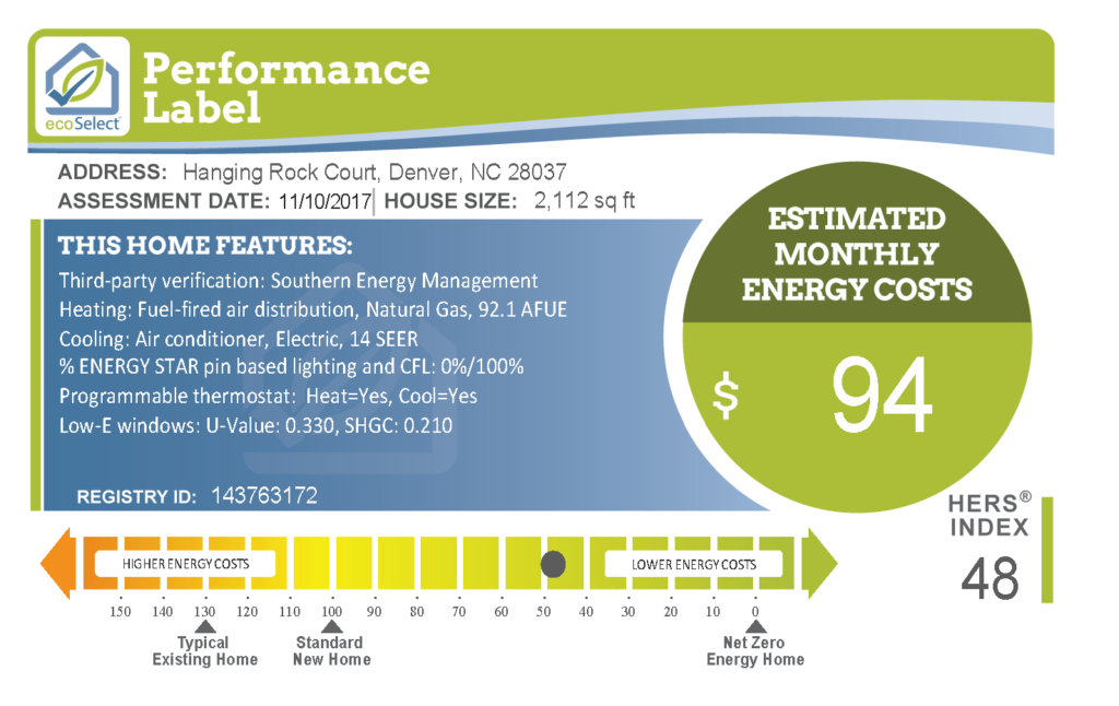 ecoSelect Performance Label for Hanging Rock Court