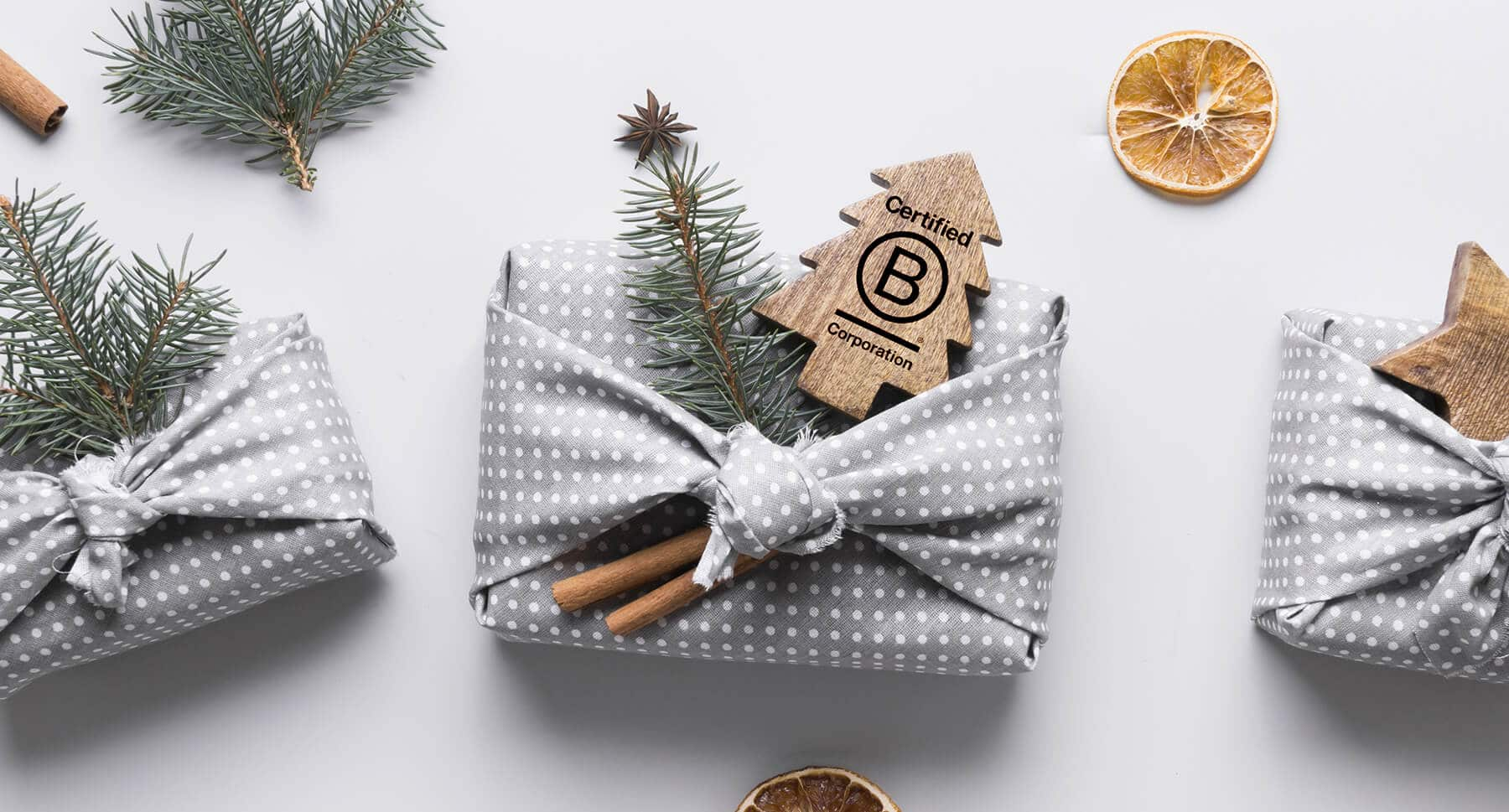Holiday gifts wrapped with zero waste fabric packaging