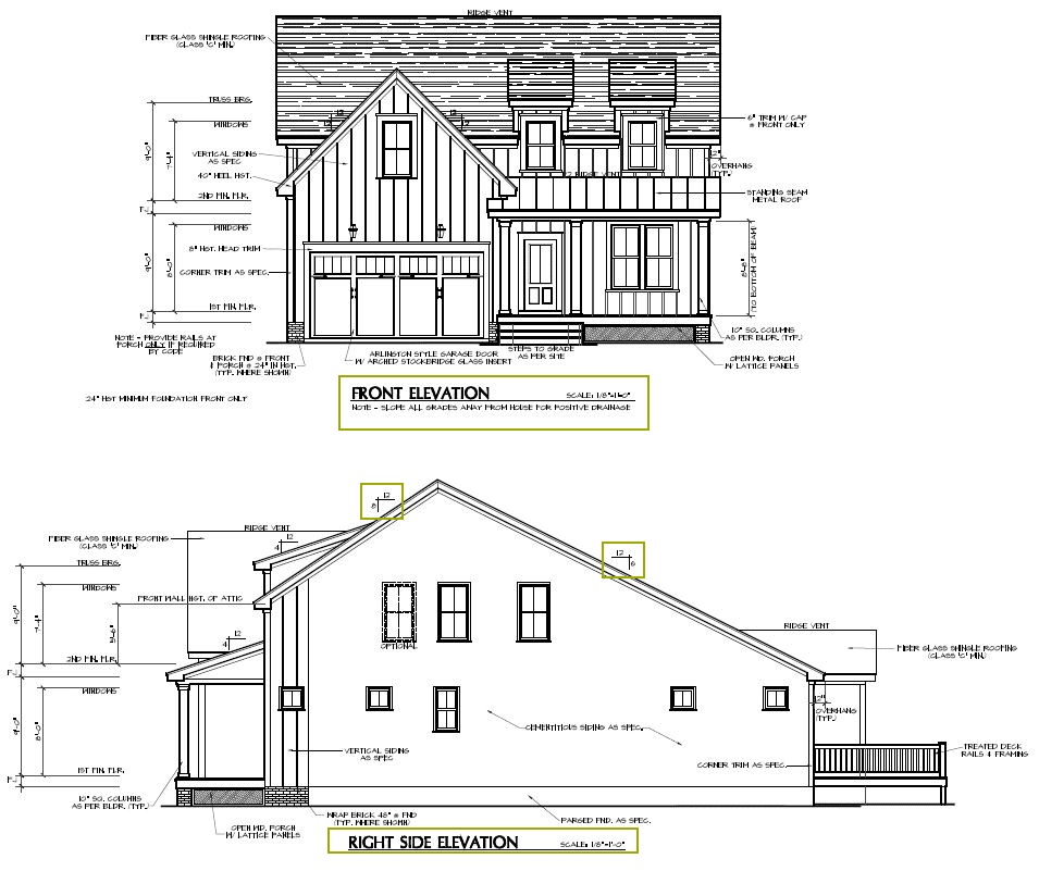 Elevation pictures of the front and right side of a new construction home