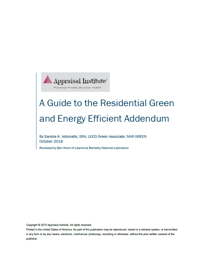Preview of the Guide to the Residential Green Addendum