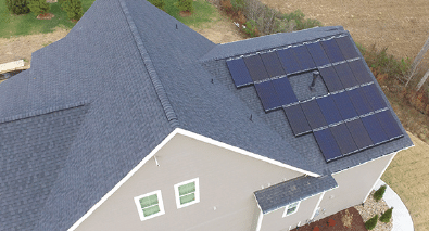 Rooftop solar system on a neighborhood house