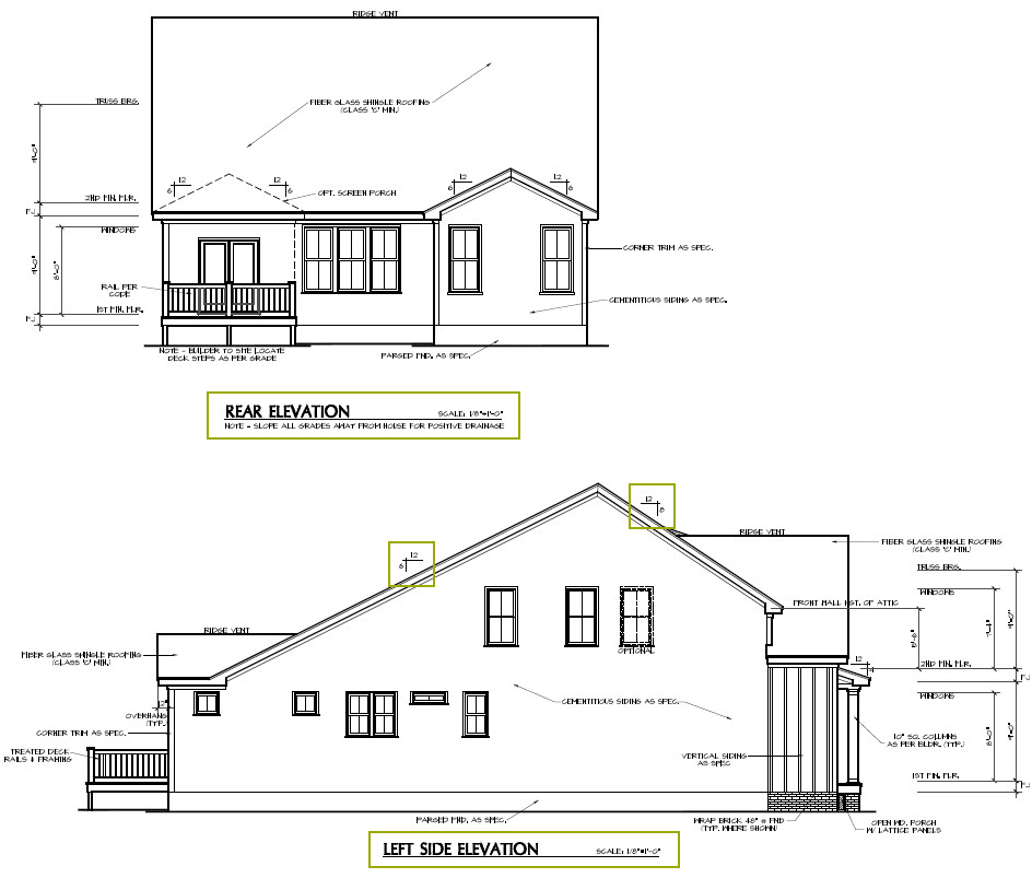 Side and rear elevations of a new construction home