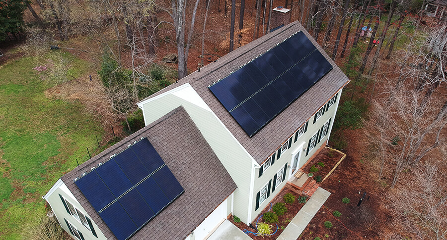Colonial home with a roof mounted solar system