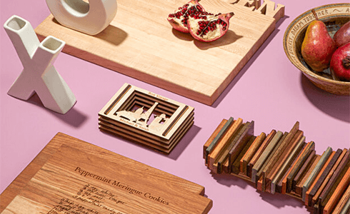 Assorted handcrafted wood gift items from Uncommon Goods