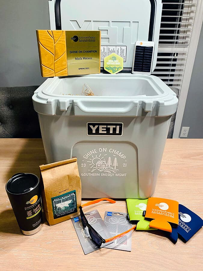 The Shine On Champion Yeti Cooler prize awarded to Mark Watson from New Leaf Builders