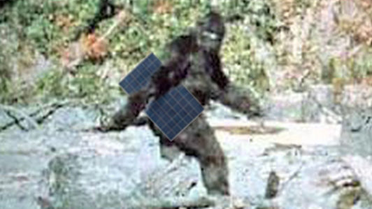 Sasquatch holding a solar panel