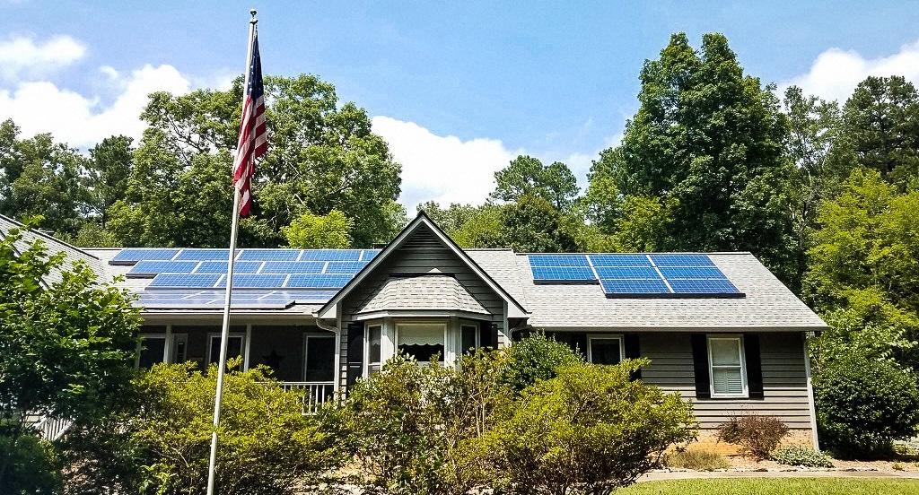 Ranch Home with Solar and Americana Flag