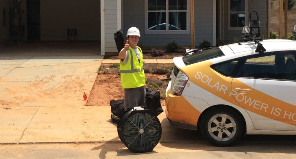 Energy Rater on a construction site ready to inspect a new home