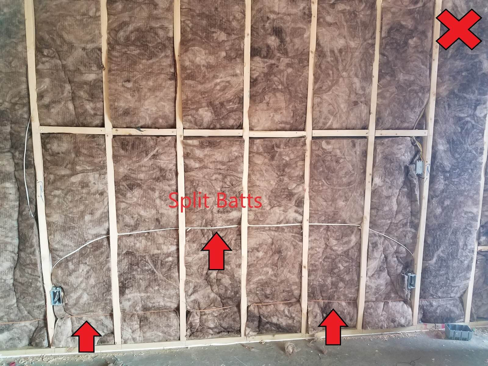 Wall with insulation batts that are not split around wiring