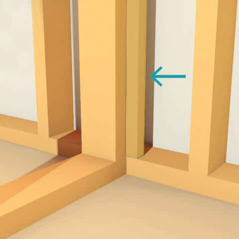 An example of using a vertical stud as a drywall attachment point for interior wall insulation
