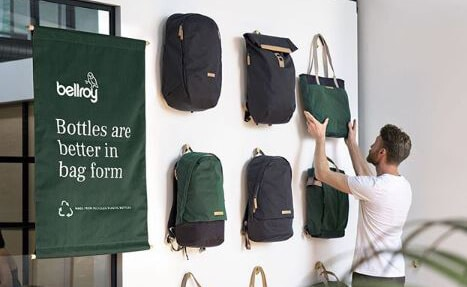 Bottles to Bags recycled collection by B Corp brand Bellroy
