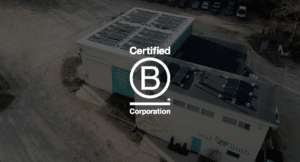 Aerial view of Certified B Corp, Leaf & Limb's Raleigh headquarters with solar panels on the roof