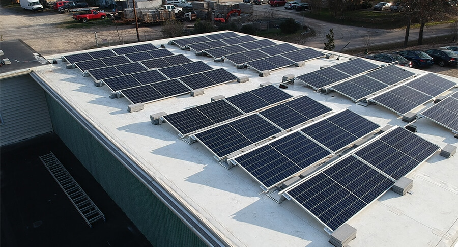 Close up view of the solar panels on Leaf & Limb's building