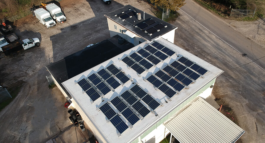 Top down view of Leaf & Limb's roof top solar system