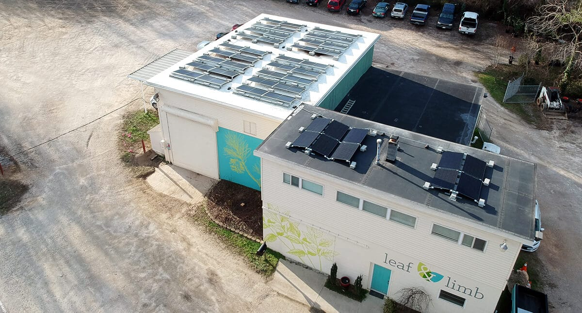 Aerial view Leaf & Limb's Raleigh headquarters with solar panels on the building