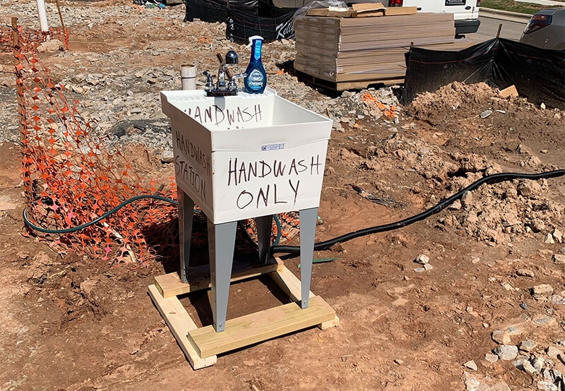 Hand washing station on a construction site during COVID-19