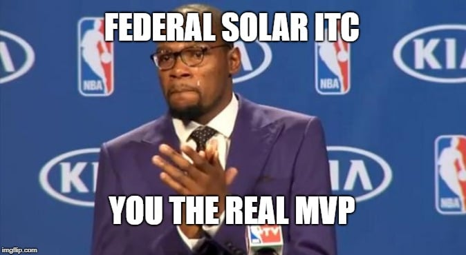 "Durant slow clapping with meme text, ""Federal solar ITC, You the real MVP"""