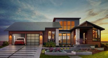 Rendering of home with tesla solar shingles
