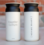 White vacuum insulated tumbler with Counter Culture branding