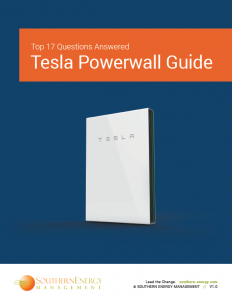 Cover of Southern Energy Management's Guide to Tesla Powerwall featuring a white Tesla Powerwall