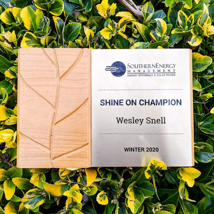 Plaque awarded to Winter 2020 Shine On Champion, Wesley Snell