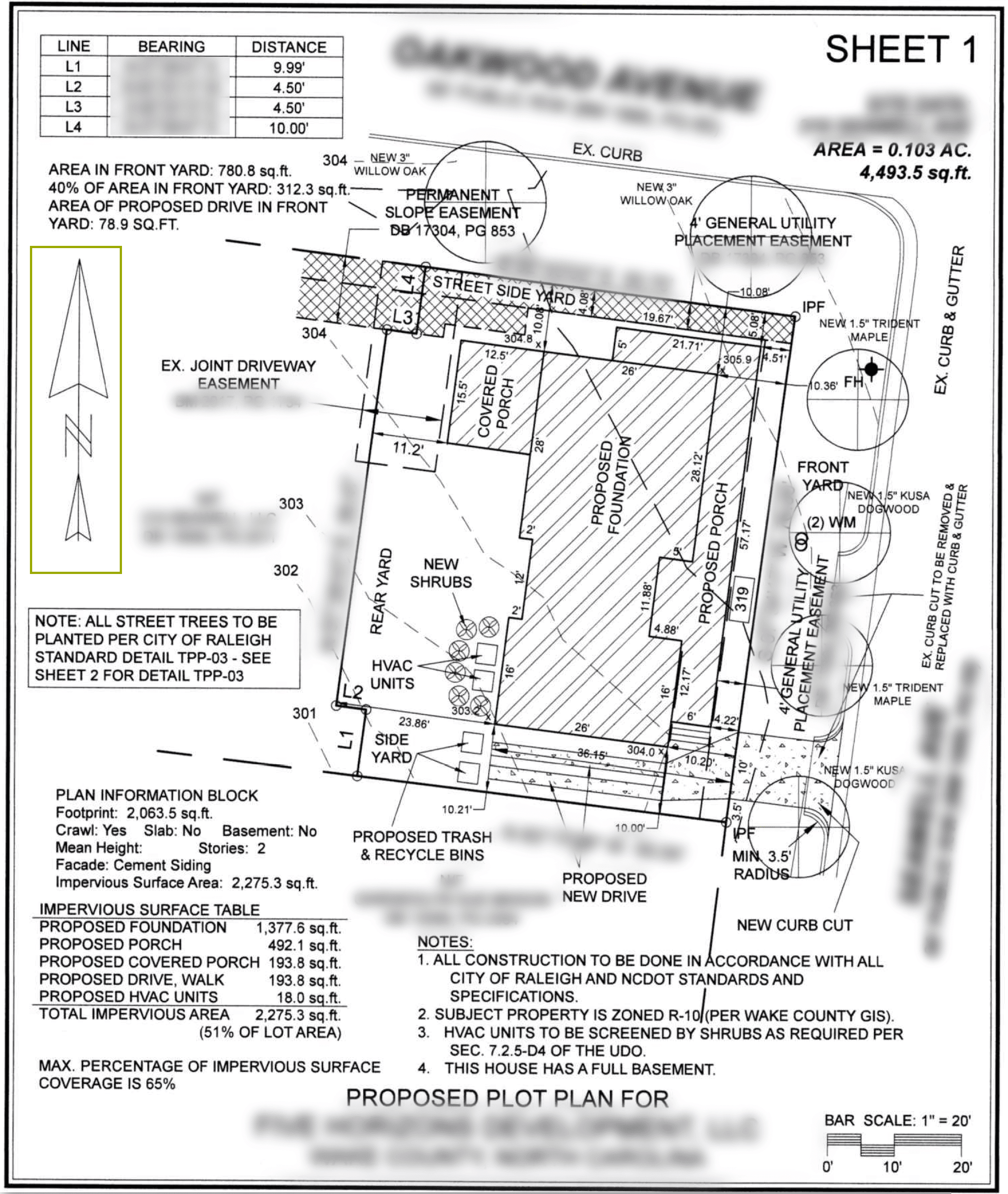 Example of a lot plan with north orientation