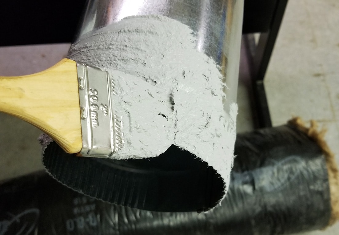 Mastic on a duct