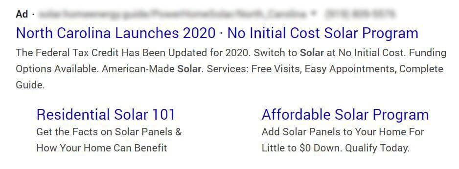Google Ad offering North Carolina No Initial Cost Solar 2020 Program