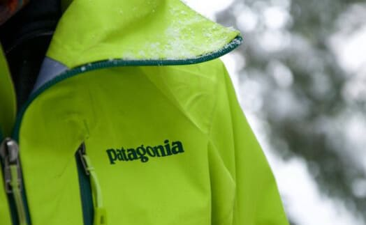 Lime green jacket by b corp brand Patagonia
