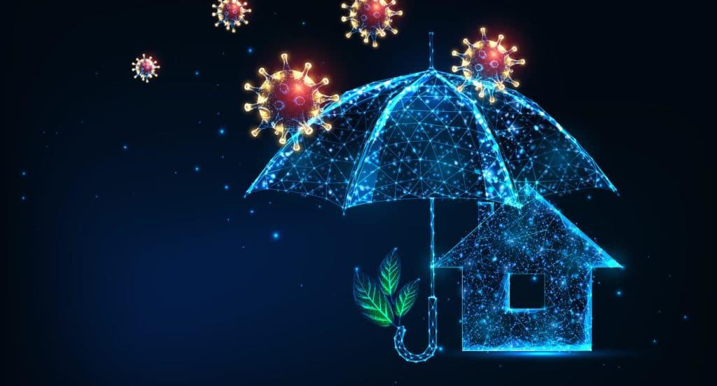 Umbrella shielding a home from bacteria