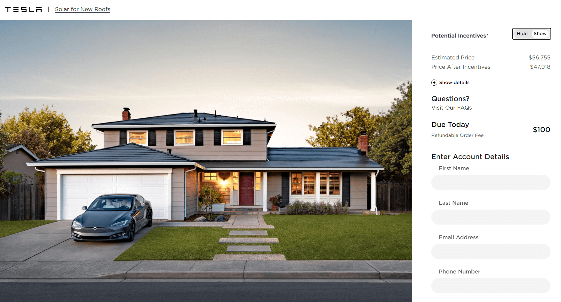 Cost of 8kw Tesla solar roof estimated from Tesla's solar design portal