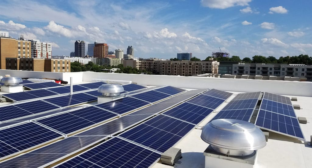 Rooftop picture of solar system at Revisn in downtown Raleigh
