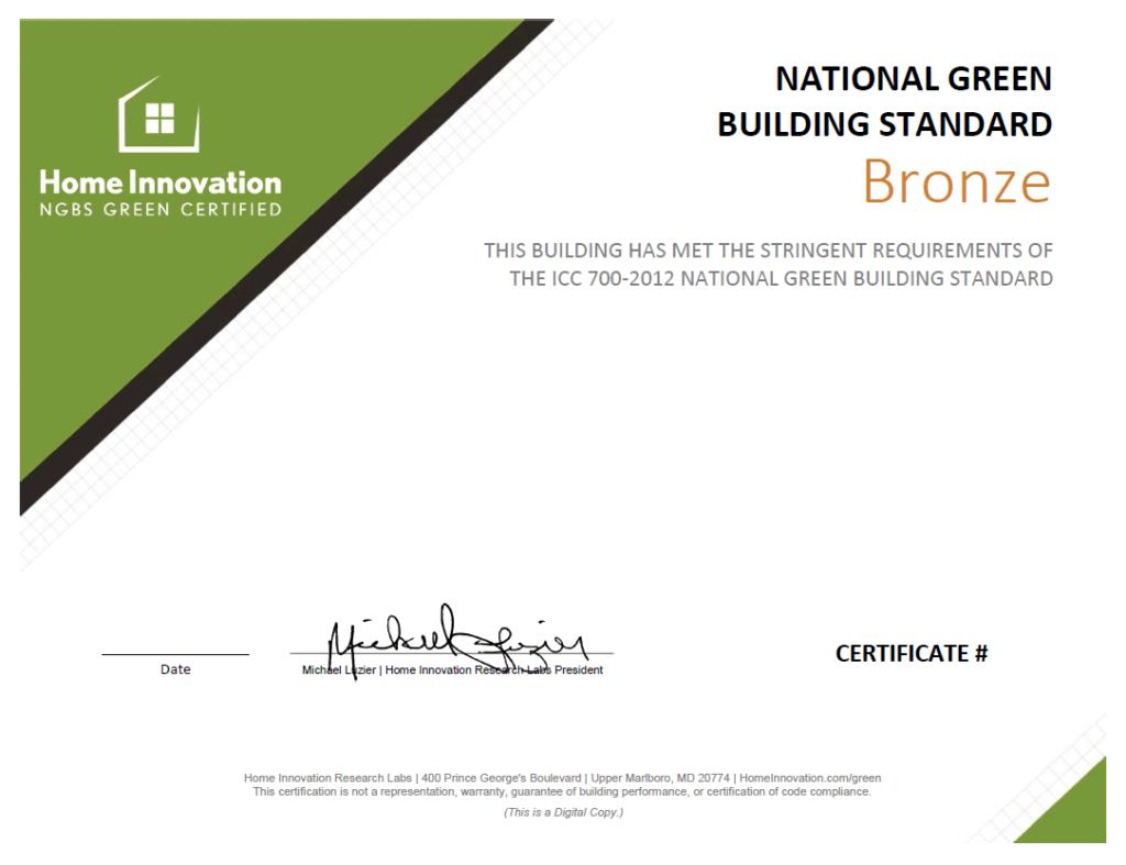 Sample NGBS Bronze Certificate