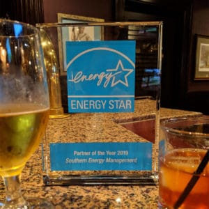 Energy Star Partner of the Year Award on a table at the ceremony