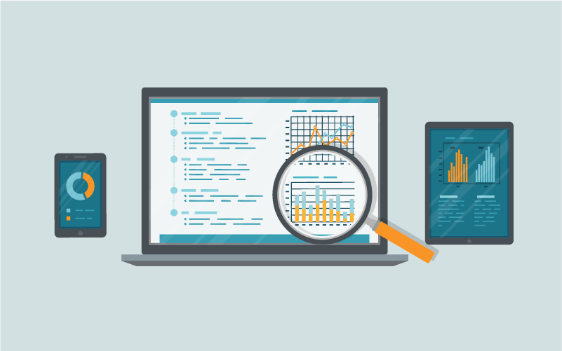 Illustration of a magnifying glass hovered over a web based report dashboard on a laptop with a mobile and tablet device report views on either side.