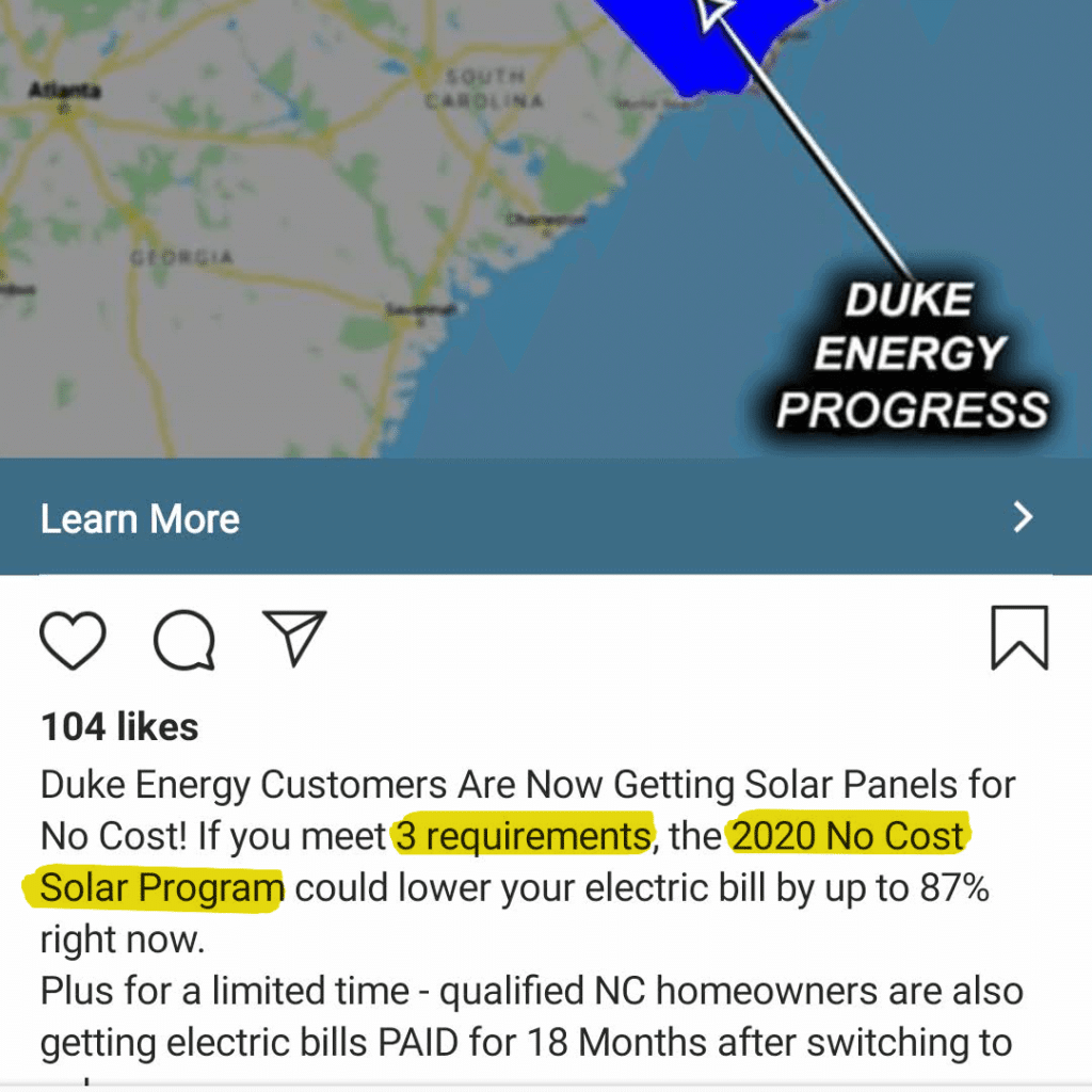 "Solar ad implying you must meet qualifications to apply for a ""new solar program"""