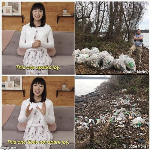 Trash clean up sparking joy for Marie Kondo