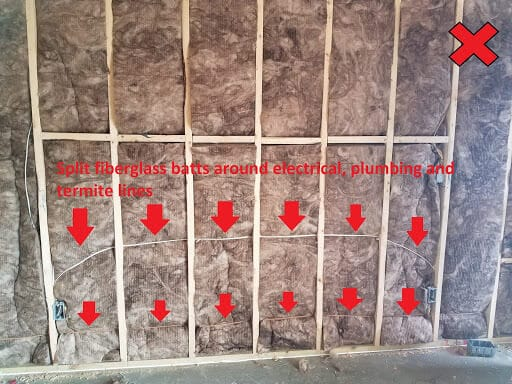 Insulation with batts installed behind electrical, should instead be installed with batts split around electrical