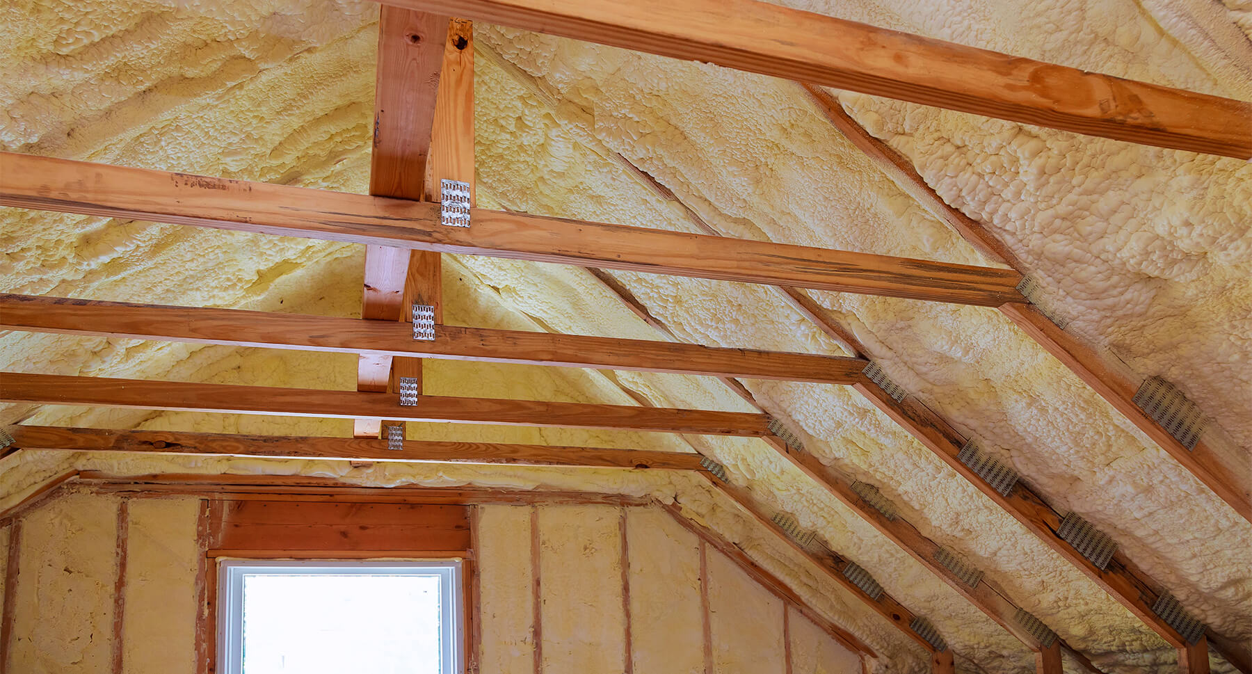 Attic with spray foam insulation
