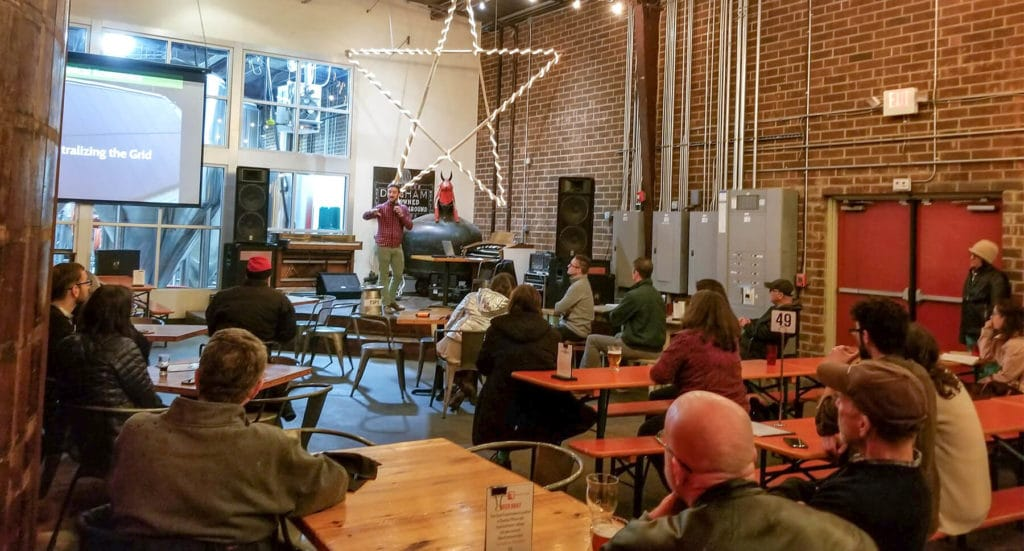 Crowd at Fullsteam Brewery learning about Solar Power
