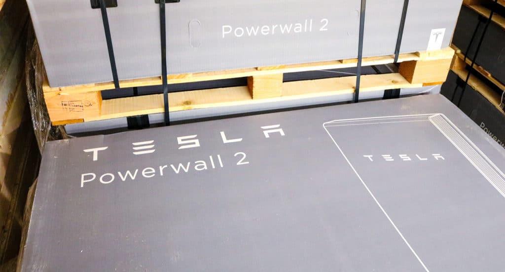 Tesla Powerwall 2 in gray box