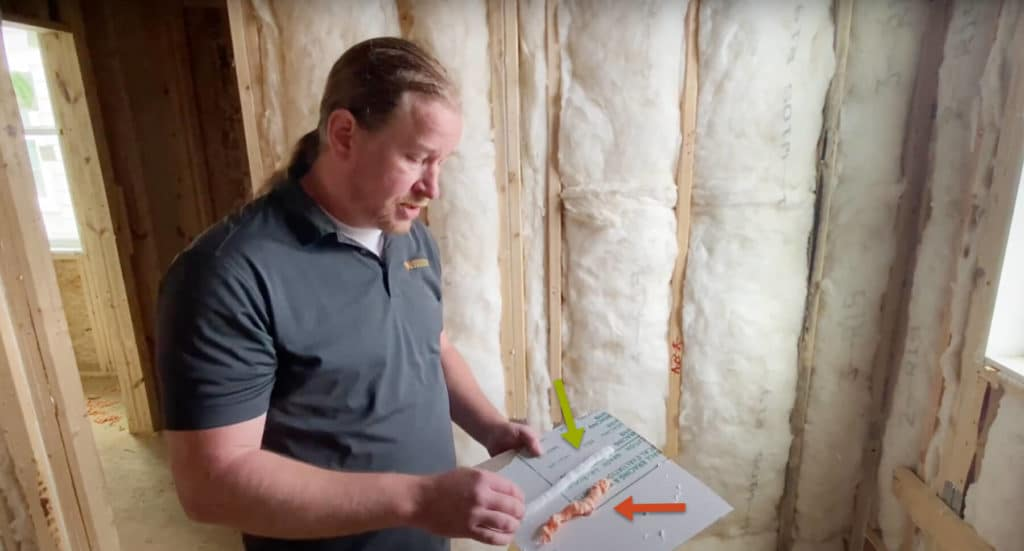 The orange fire blocking foam is rigid and not meant for wall top air sealing. The white foam is flexible allowing it to create a positive seal