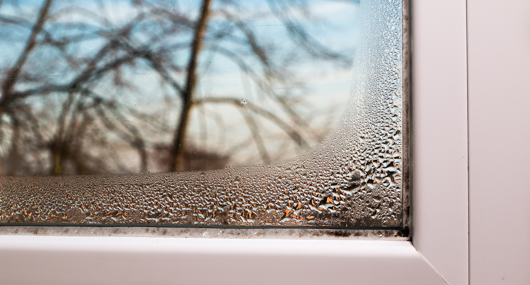 Moisture on window from poor ventilation