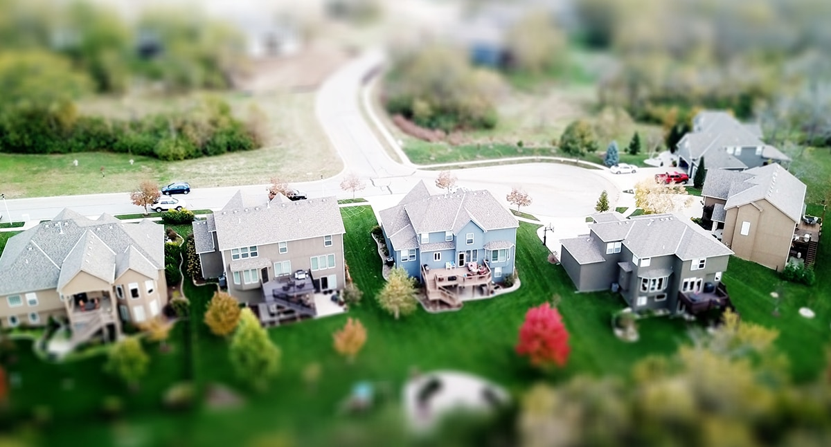Aerial view of a tiltshift neighborhood