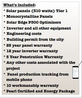 Section from a solar proposal detailing what is included in the system price
