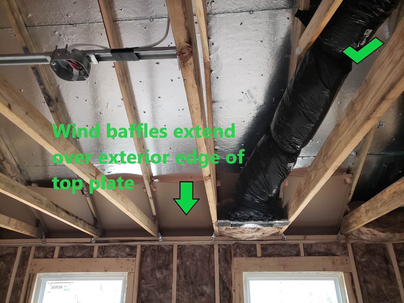 Wind baffles that are correctly installed extending over the exterior edge of the top plate